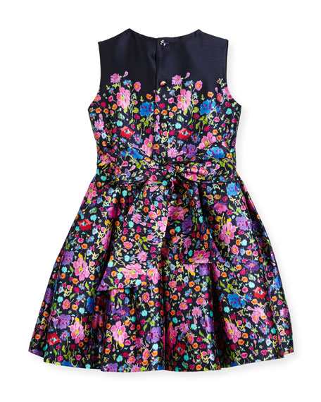 Floral Mikado Dress, Blue Pattern, Size 2-14