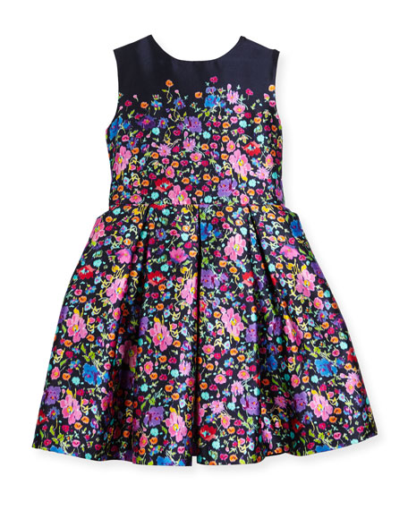 Floral Mikado Dress, Blue Pattern, Size 2-14