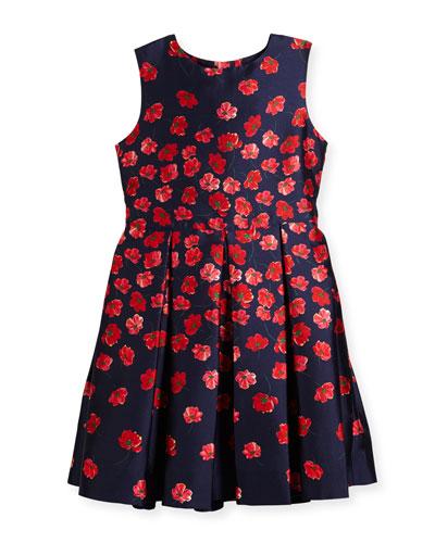 Degrade Poppies Mikado Party Dress, Size 2-14