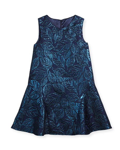 Oscar de la Renta Jacquard Sleeveless Drop-Waist Dress,