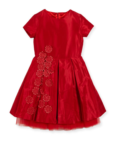 Silk Taffeta Party Dress with Guipure Flowers, Red, Size 3-14