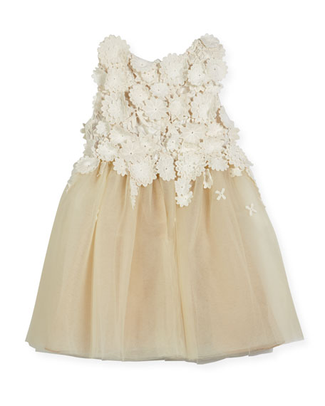 Tulle Dress with Guipure Lace, Gold, Size 2-14