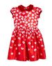 Degrade Pansy-Print Dress, Red, Size 2-6