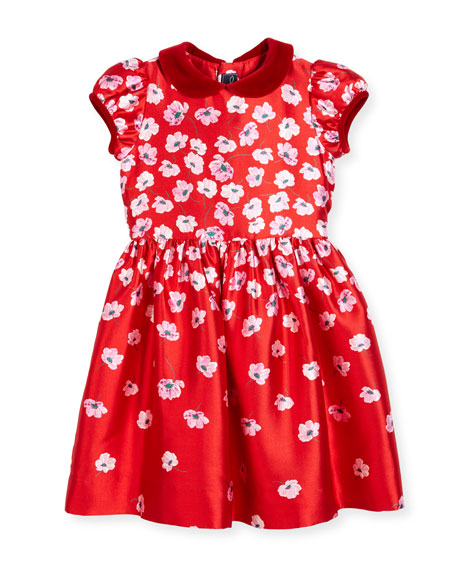 Oscar de la Renta Degrade Pansy-Print Dress, Red,