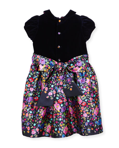 Collared Floral Mikado Dress, Multicolor, Size 2-6