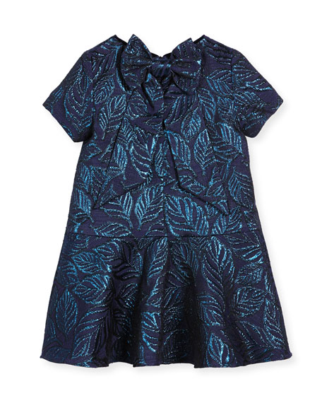 Jacquard Bow-Back Dress, Navy, Size 4-10