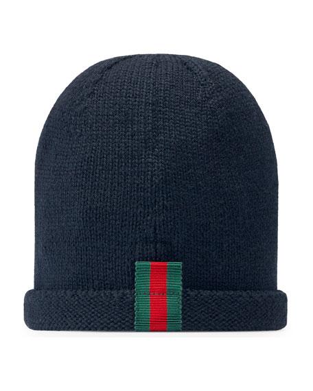 Gucci Kids' Knit Web Trim Beanie Hat, Navy