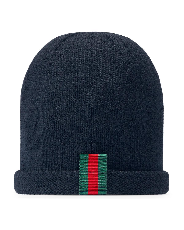 815ebe9601a Gucci Kids  Knit Web Trim Beanie Hat