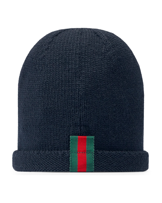 c53cd73e038 Gucci Kids  Knit Web Trim Beanie Hat