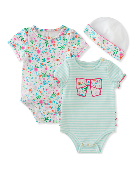 girls' floral & striped ruffle layette set, size 3-9 months