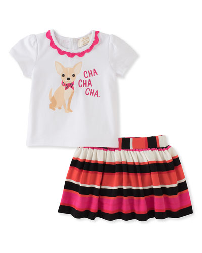 cha cha cha tee w/ striped skirt, size 12-24 months