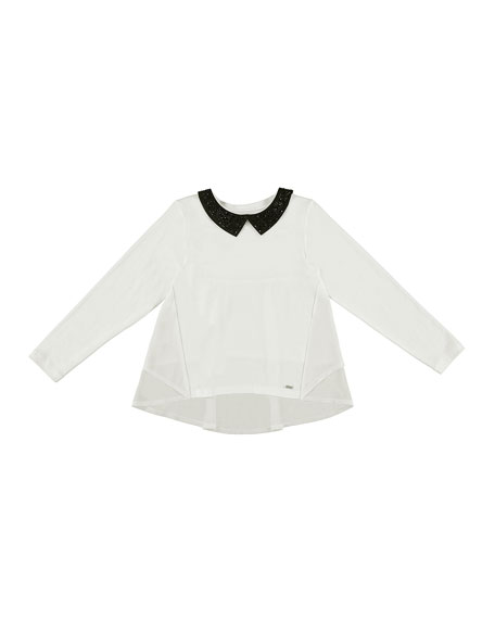 Mayoral Long-Sleeve Glittered Collar Blouse, Size 8-16