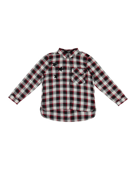 Stars Plaid Blouse, Wine, Size 8-16