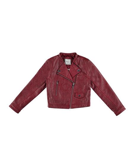 Faux-Leather Moto Jacket, Wine, Size 8-16