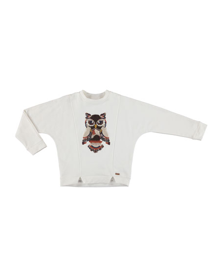 MAYORAL Notched Pullover Owl Sweater, Size 8-16