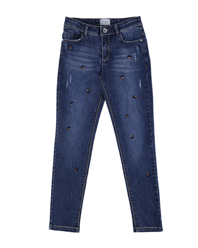 Crystal Embellished Slim-Fit Stretch Jeans, Size 8-16