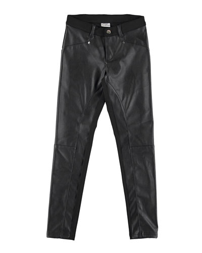 Faux-Leather Paneled Leggings, Size 8-16