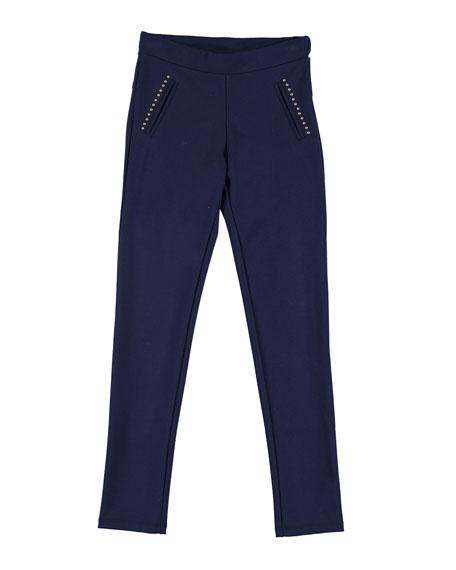 MAYORAL Studded Knit Leggings, Navy, Size 8-16