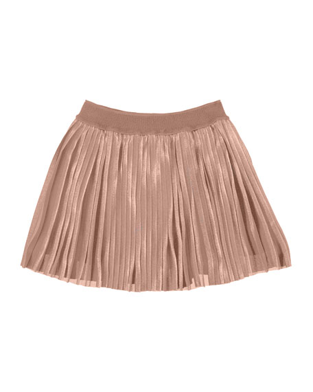 Accordion-Pleated Metallic Skirt, Light Pink, Size 8-16