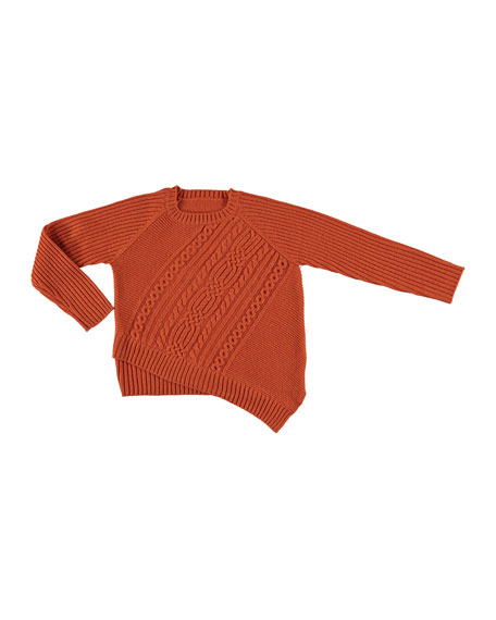 Asymmetric Cable Knit Sweater, Orange, Size 8-16