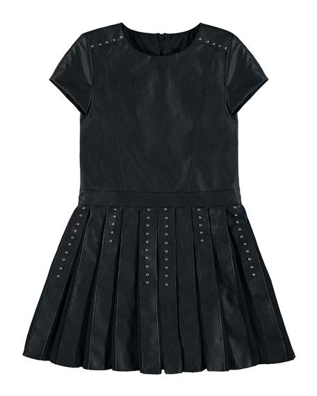 Faux-Leather Studded Dress, Black, Size 8-16