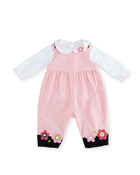 Corduroy Flower Overalls w/ Blouse, Size 3-24 Months