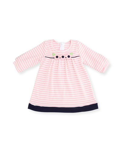 Striped Interlock Knit Flower Dress, Size 6-24 Months