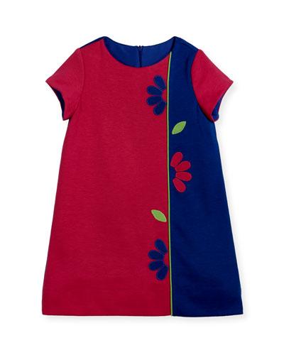 Colorblock Ponte Dress w/ Flowers, Size 2-6X