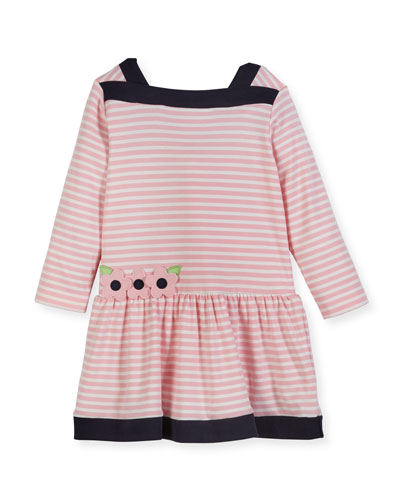 Striped Interlock Knit Dress w/ Floral Appliqué, Size 2-4