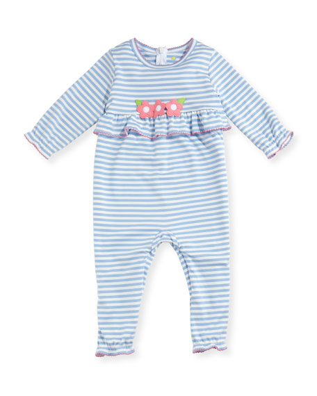 Striped Flower & Ruffle Coverall, Size 3-18 Months