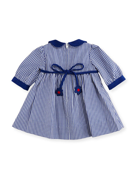 Checkered Dress w/ Floral Detail, Size 6-24 Months