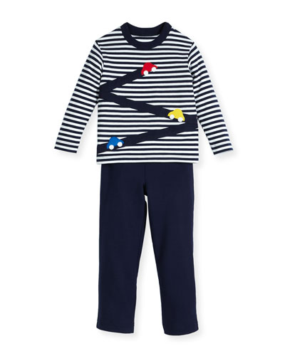 Stripe Knit Car T-Shirt w/ French Terry Pants, Size 2-4