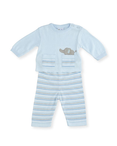 Knit Elephant Top w/ Striped Pants, Size 3-12 Months