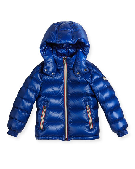 Moncler New Gaston Web-Trim Quilted Down Coat, Size
