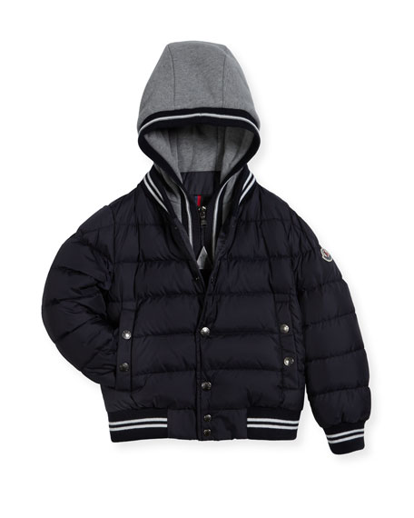 Auberie Tipped Puffer Jacket, Navy, Size 8-14
