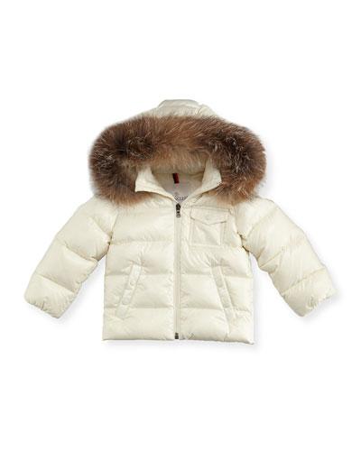 K2 Hooded Fur-Trim Puffer Coat, Size 12M-3