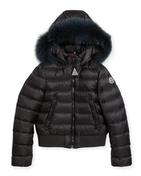 Moncler New Alberta Quilted Coat w/ Fur Trim,