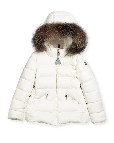 Moncler Aimeet Quilted Coat w/ Fur Hood, Size