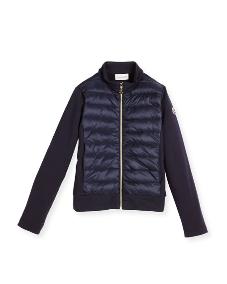 Moncler Zip-Up Quilted & Knit Jacket, Size 8-14