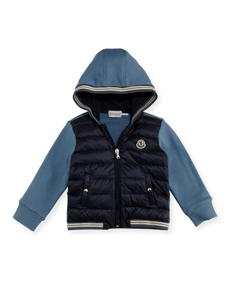Moncler Maglia Hooded Zip-Up Cardigan, Size 12M-3T