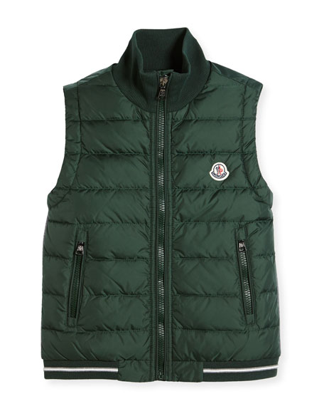 Moncler Zip-Up Stand-Collar Vest, Size 8-14