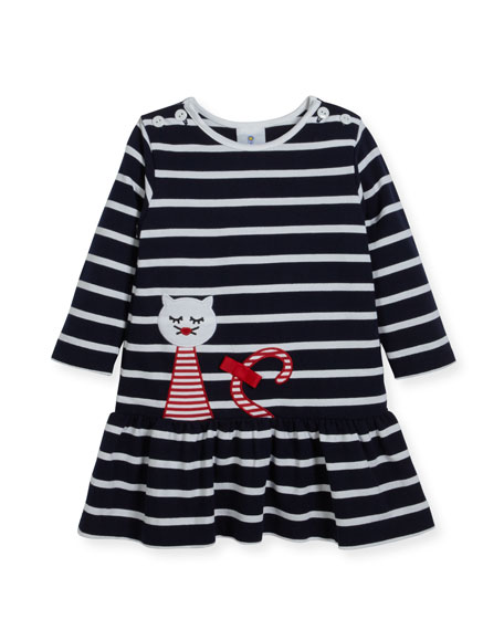Striped Pique Knit Dress w/ Cat Embroidery, Size 2-4