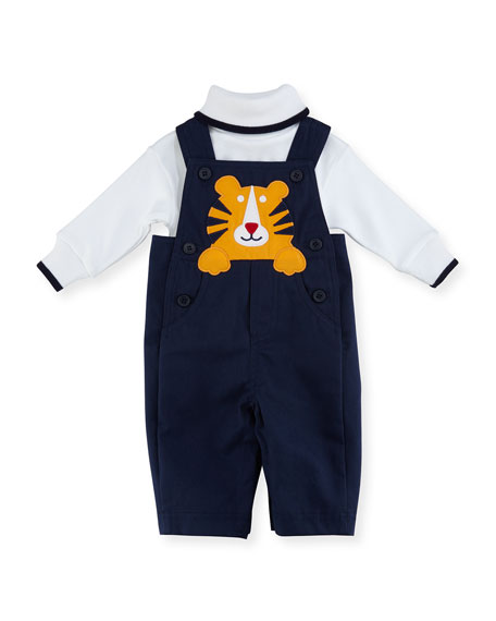Florence Eiseman Twill Tiger Overalls w/ Long-Sleeve Turtleneck,