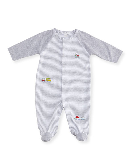 Caboose Striped Footie Pajamas, Size Newborn-9M