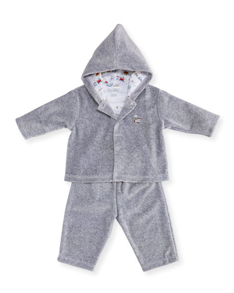 Kissy Kissy Red Caboose Velour Tracksuit Layette Set,