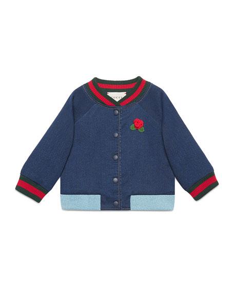 Gucci Web Bomber Jacket w/ Rose Applique, Size
