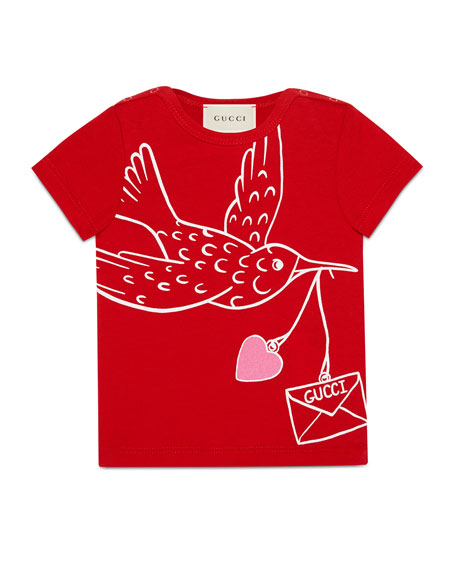 Gucci Short-Sleeve Flying Bird T-Shirt, Size 6-36 Months