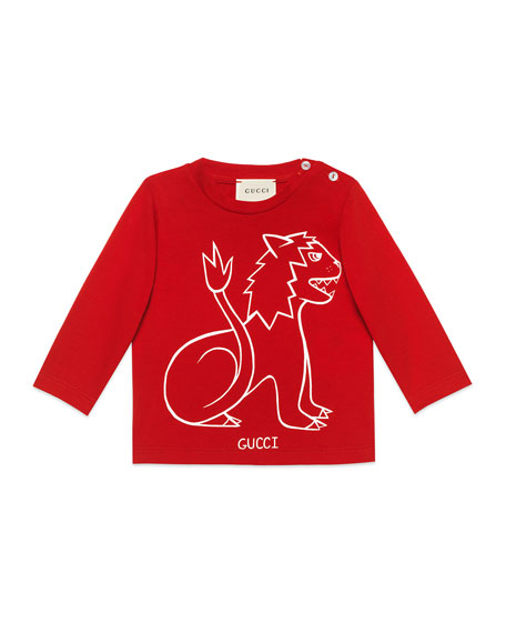 Gucci Long-Sleeve Lion T-Shirt, Size 6-36 Months