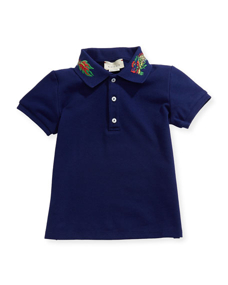 Gucci Short-Sleeve Dragon Embroidery Polo, Size 9-36 Months