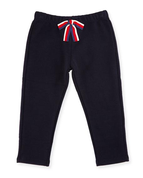 Crop Jersey Pants w/ Sylvie Web Bow, Size 6-36 Months